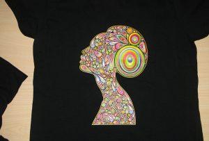 A2 tişört yazıcısı WER-D4880T tərəfindən qara t-shirt çap nümunəsi